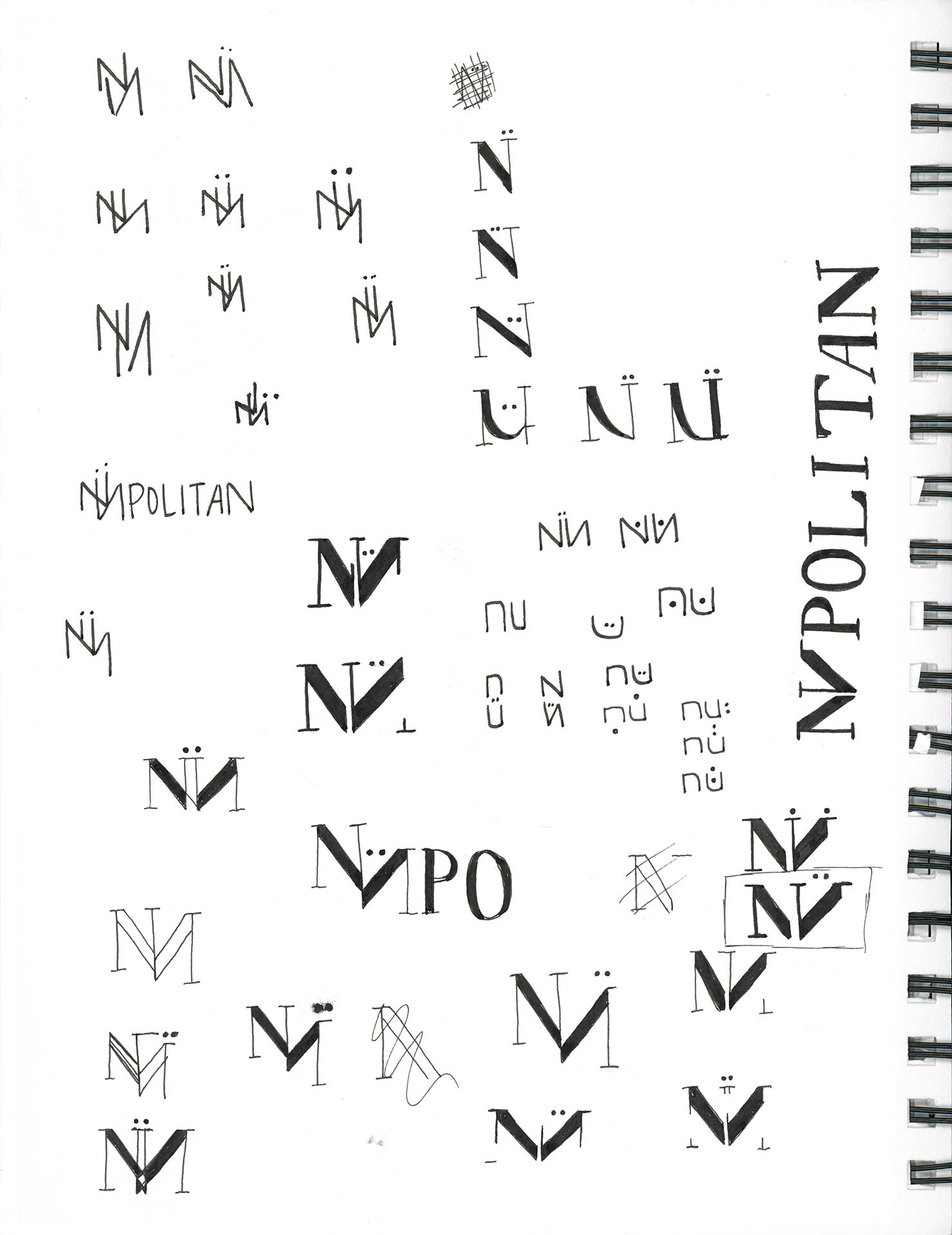 Scan of sketchbook page with iterations for Nüpolitan logo
