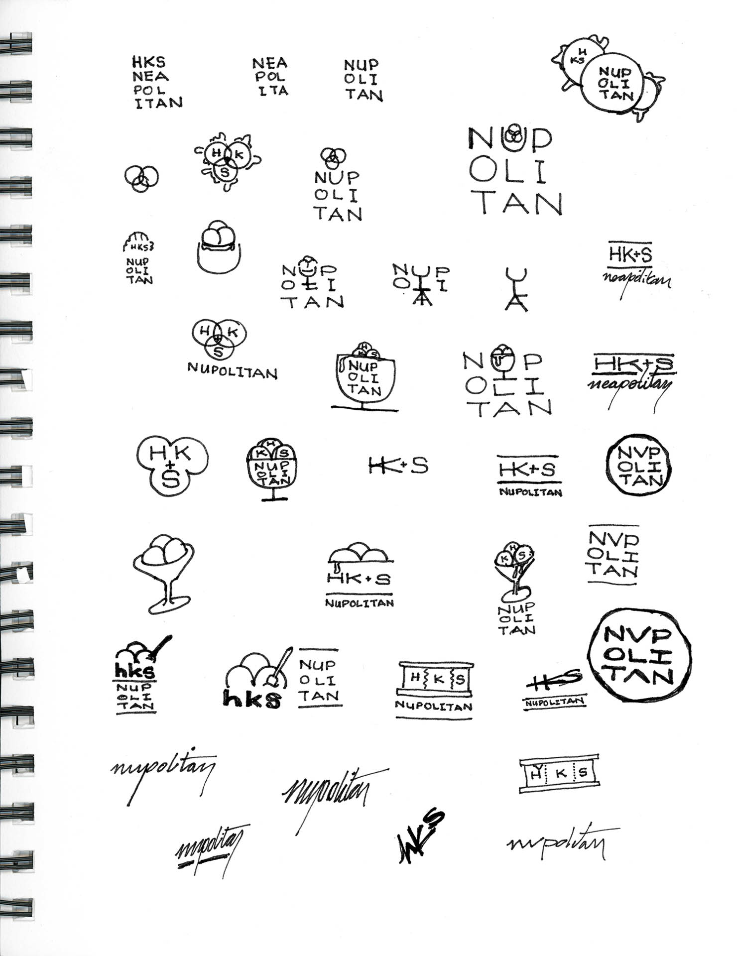 Scan of sketchbook page with iterations for Nüpolitan icons