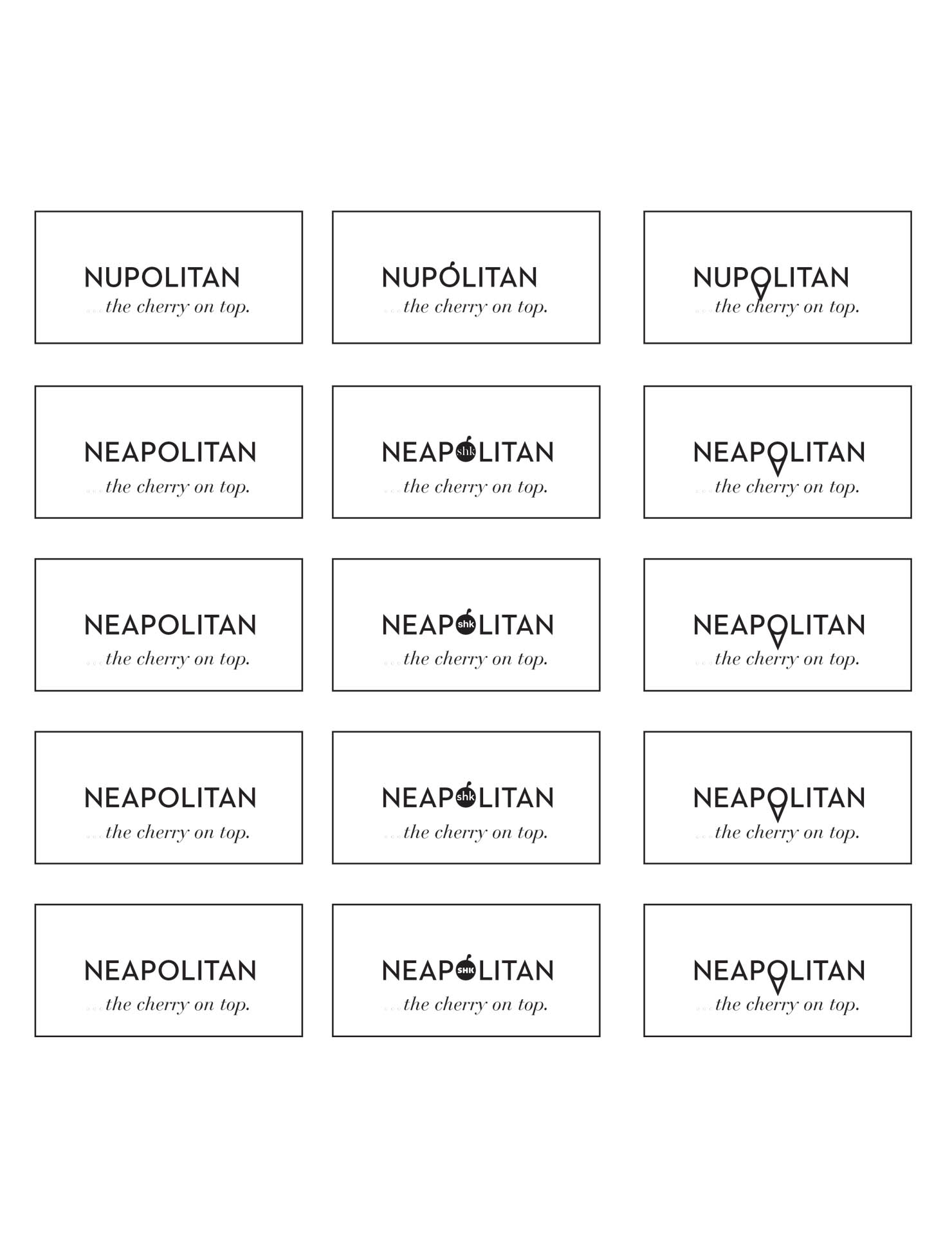 Samples of Nüpolitan logos on white paper