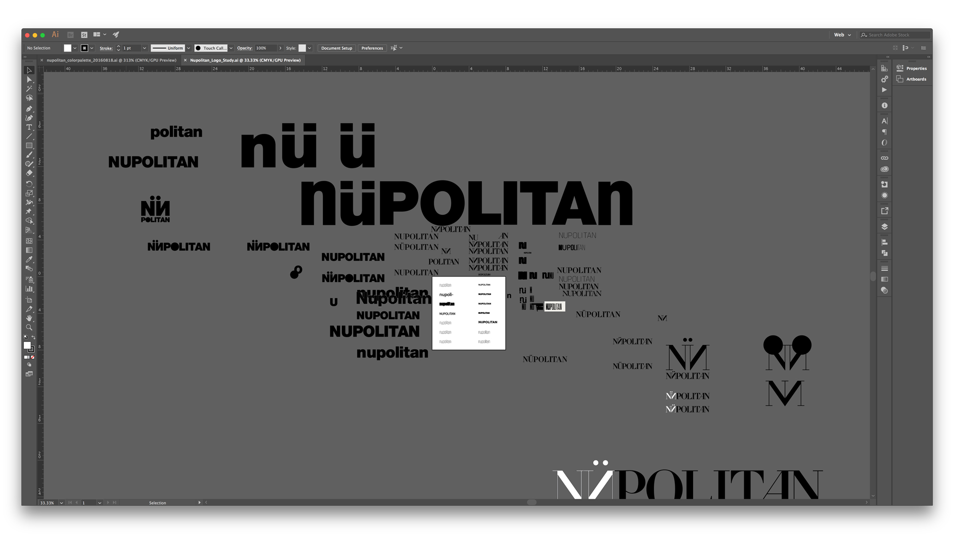 Screen capture of Illustrator window with iterations of Nüpolitan logo