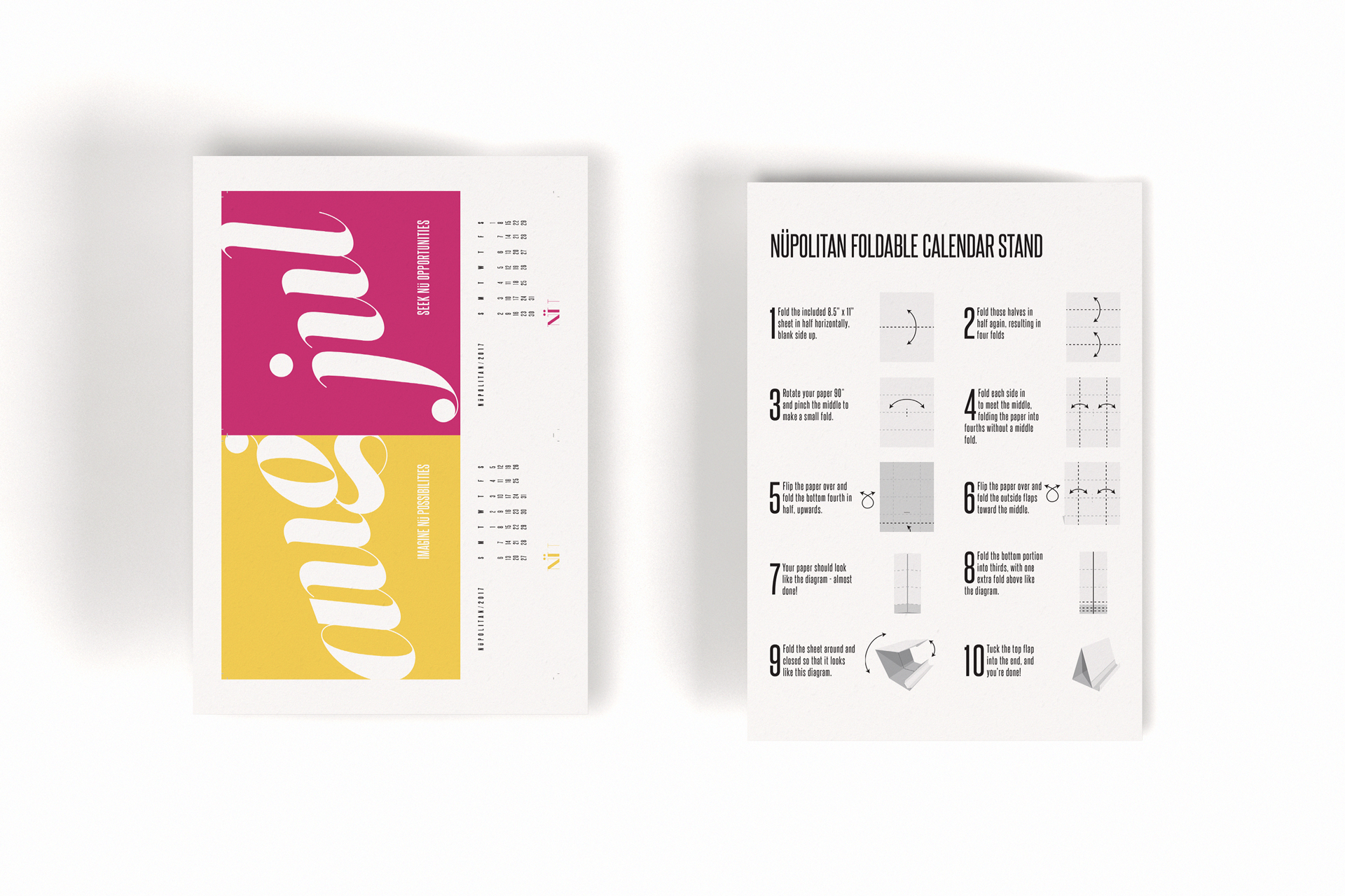 Mockup of Letter size printable calendar pages and stand instructions
