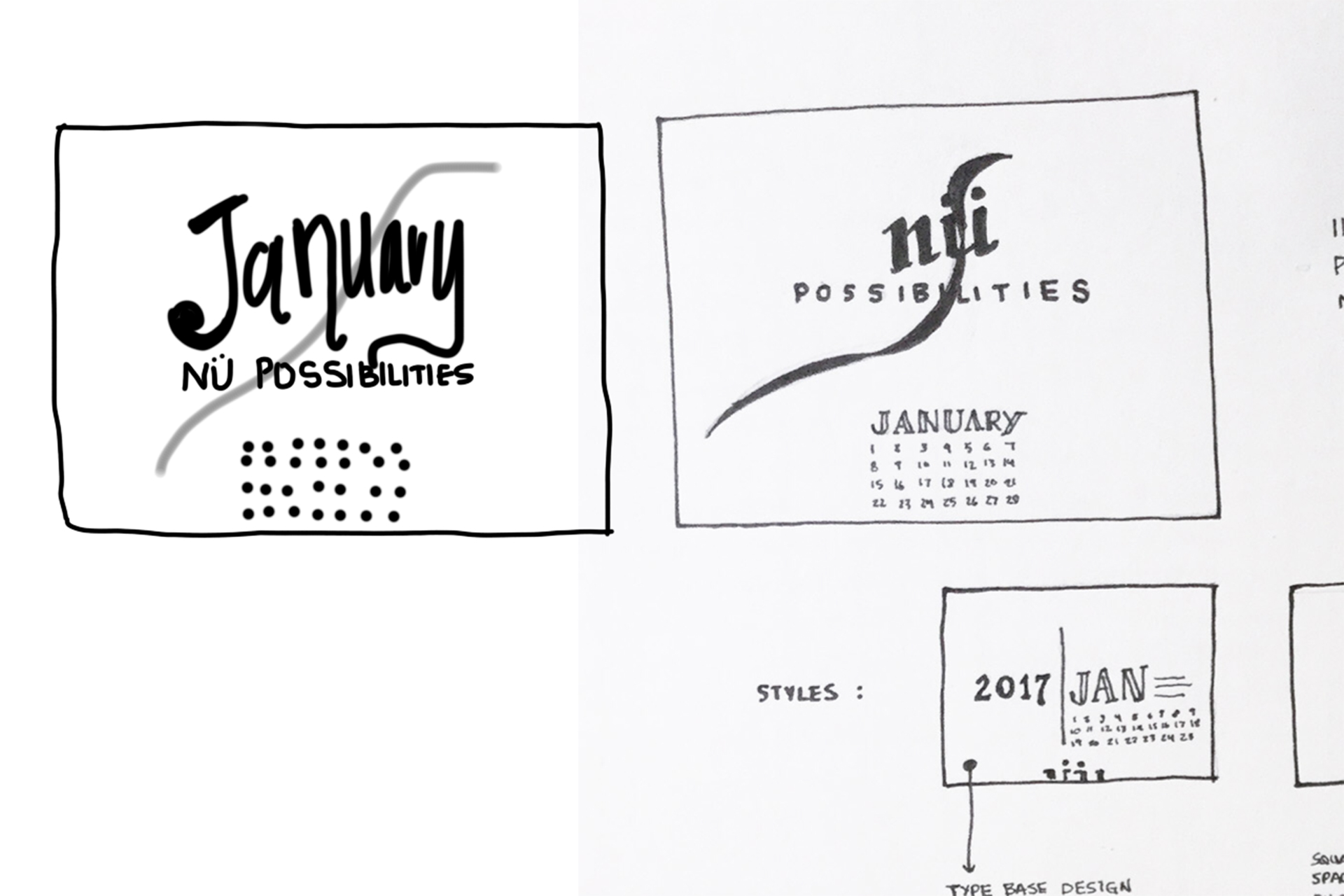 Sketches for calendar concepts