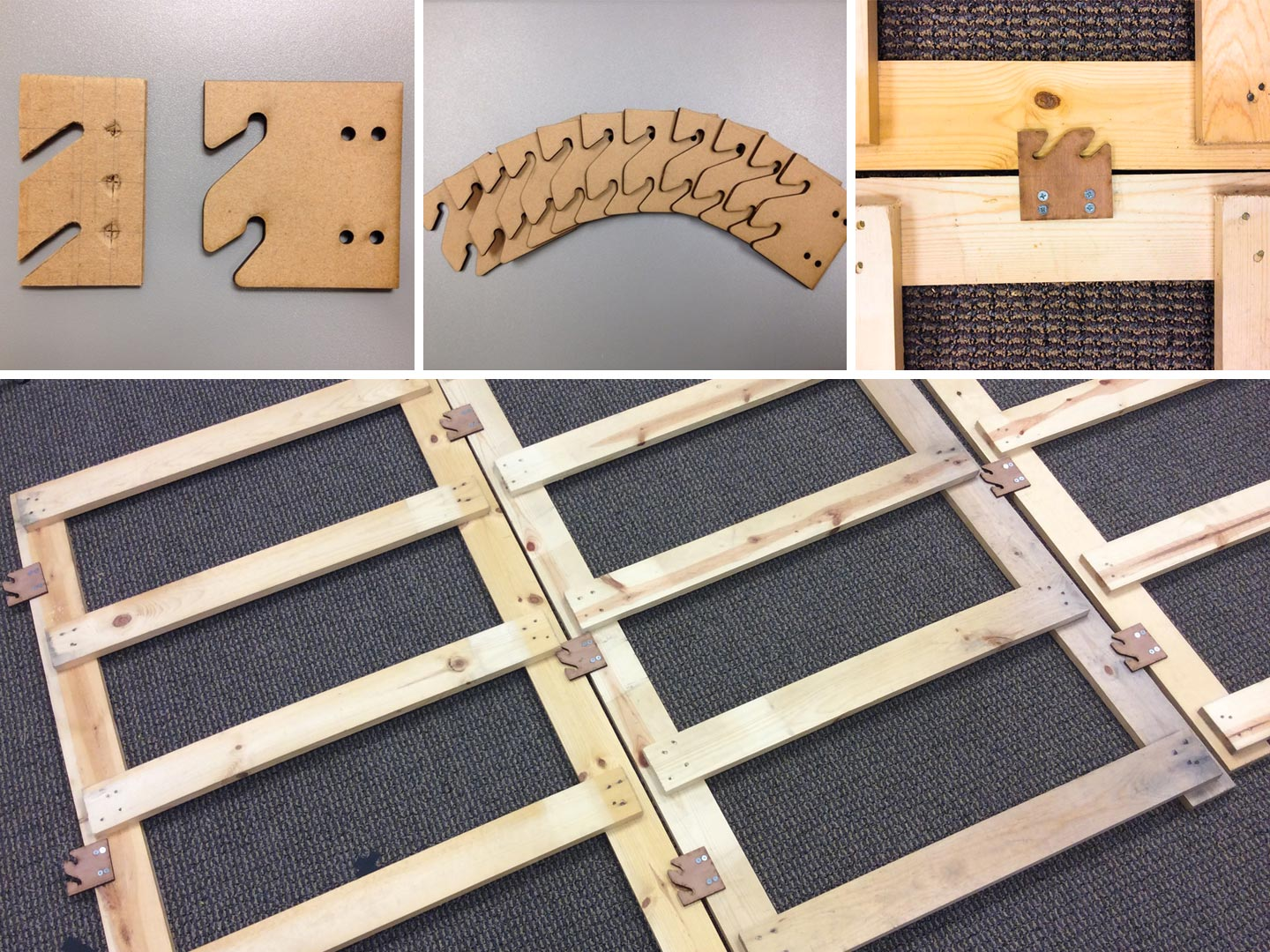 Wooden brackets and prototypes of OTA installation