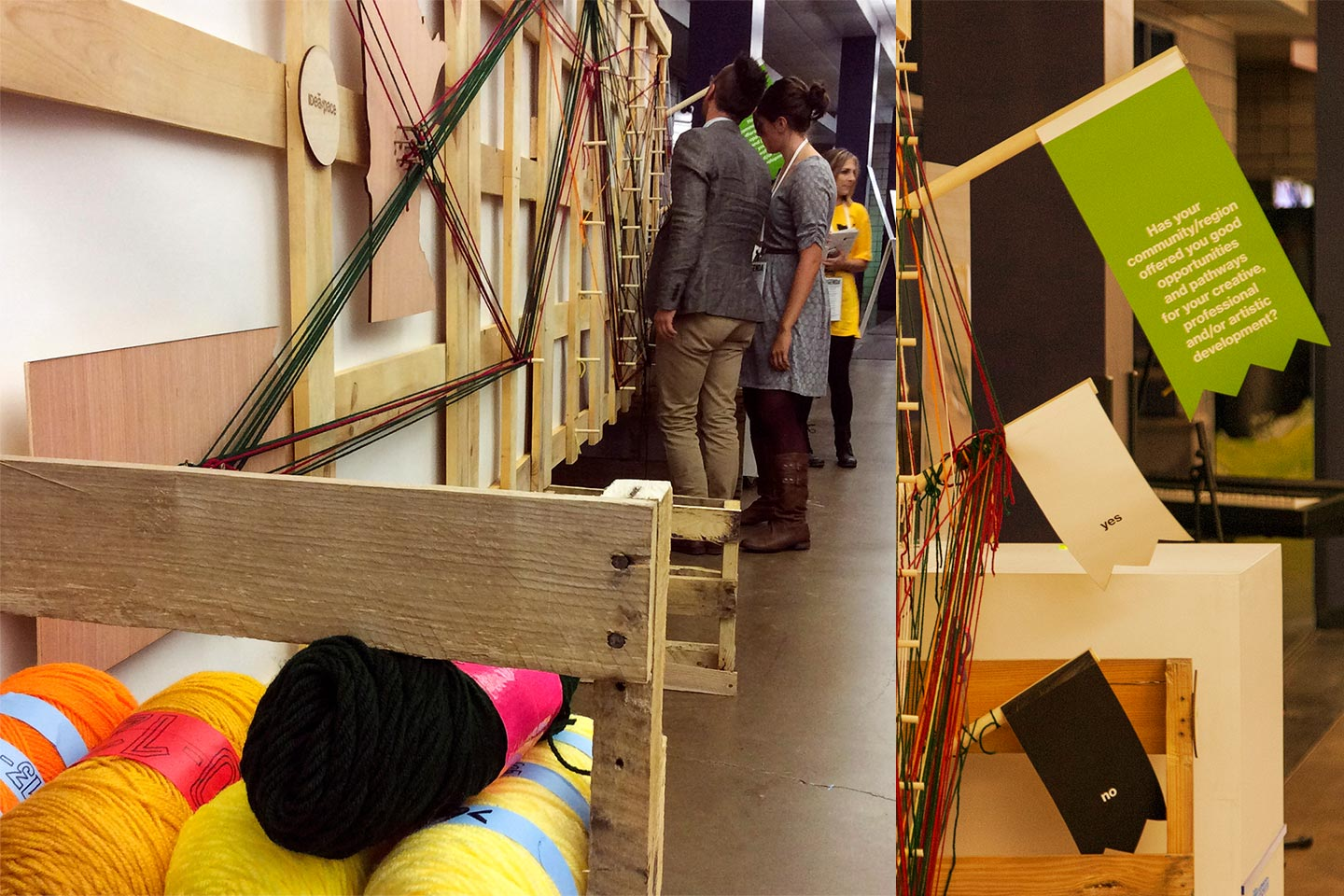 Group of people looking at wooden installation with yard in foreground