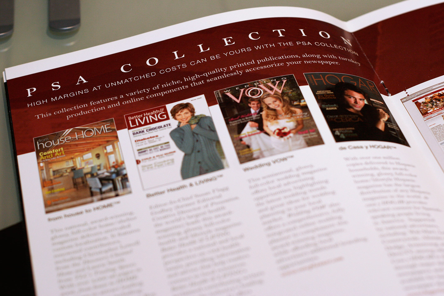 Maroon and white magazine spread
