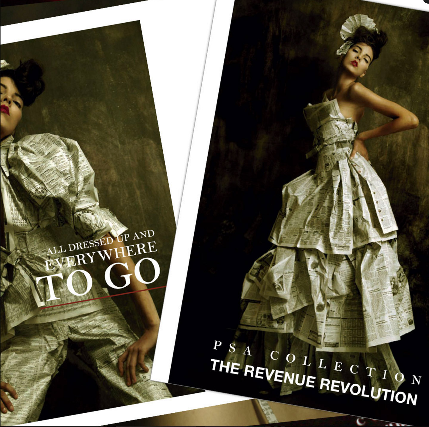 Two posters of women dressed in high-fashion dresses made of newspaper