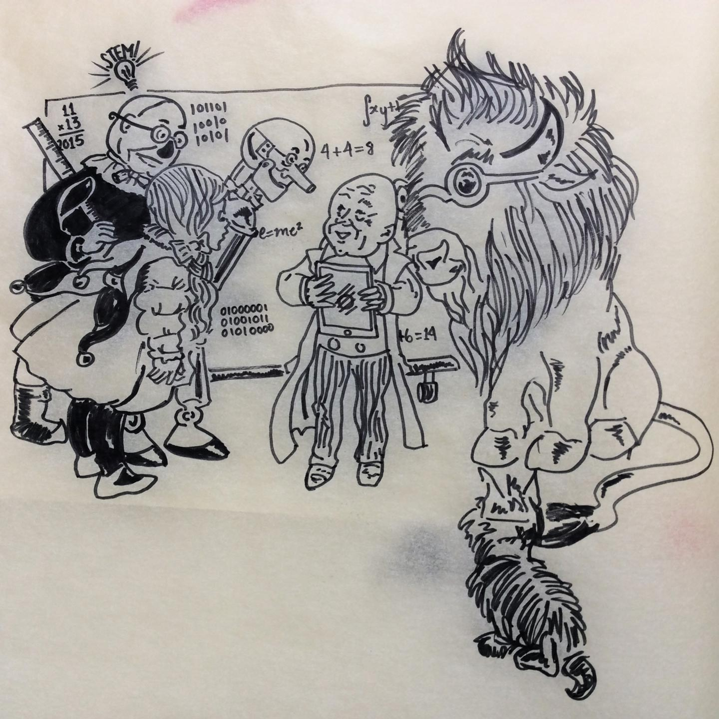 Illustration of Wizard of Oz characters with a bison in place of the lion on tracing paper