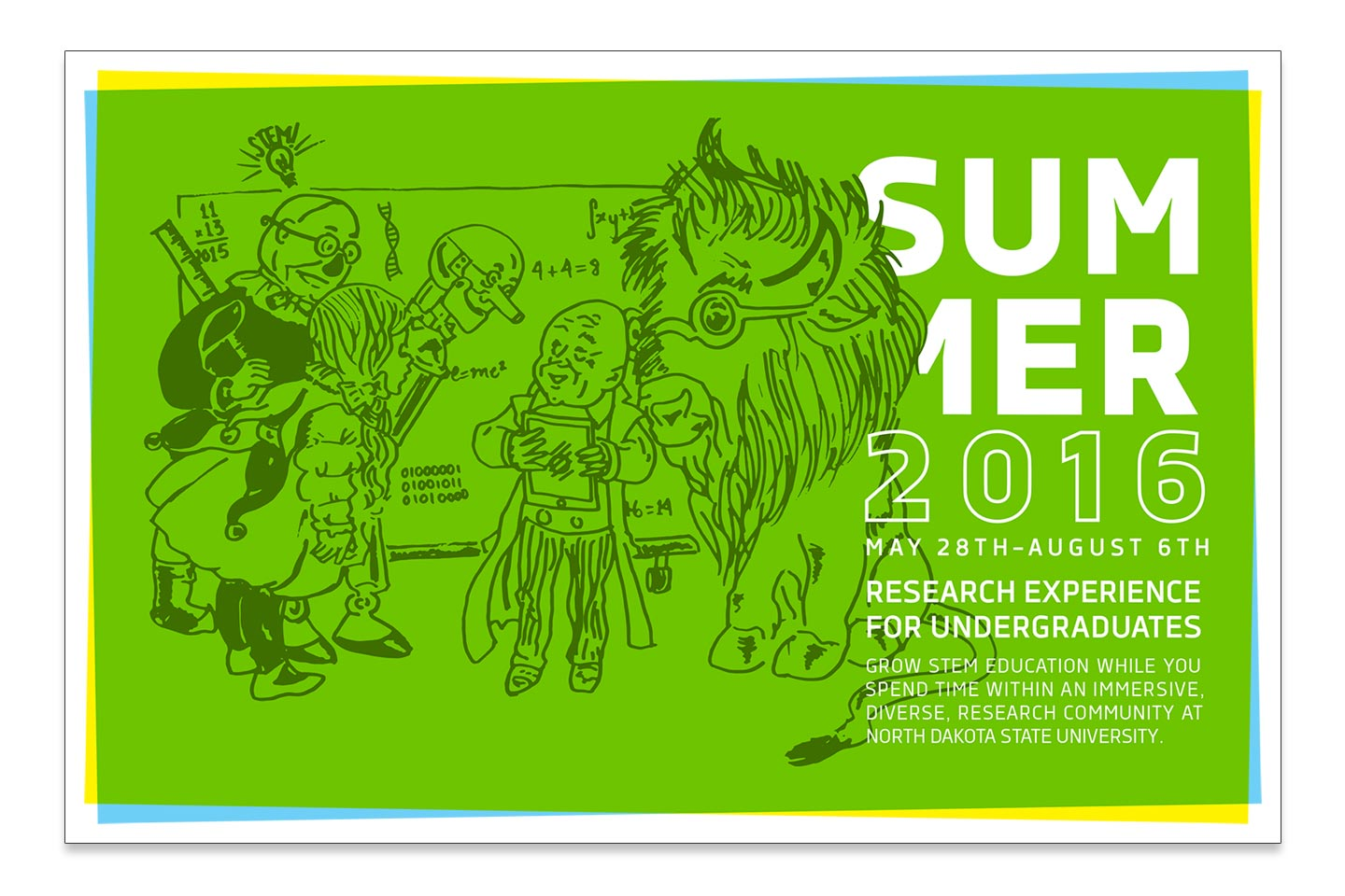 Green postcard featuring an illustration of a customized Wizard of Oz character sketch for NDSU REU