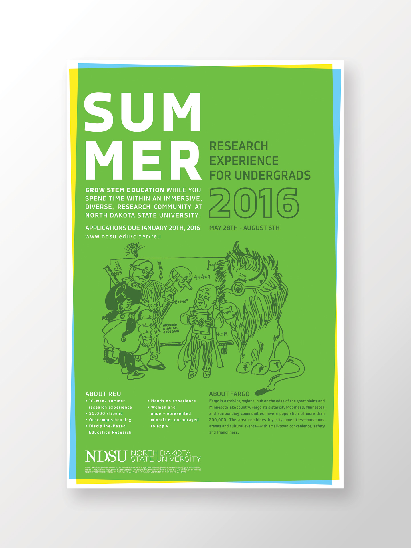 Green Poster featuring an illustration of a customized Wizard of Oz character sketch for NDSU REU