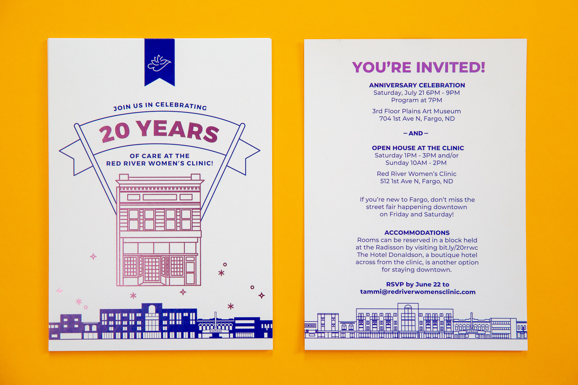 Front and back of a white purple postcard on a yellow background