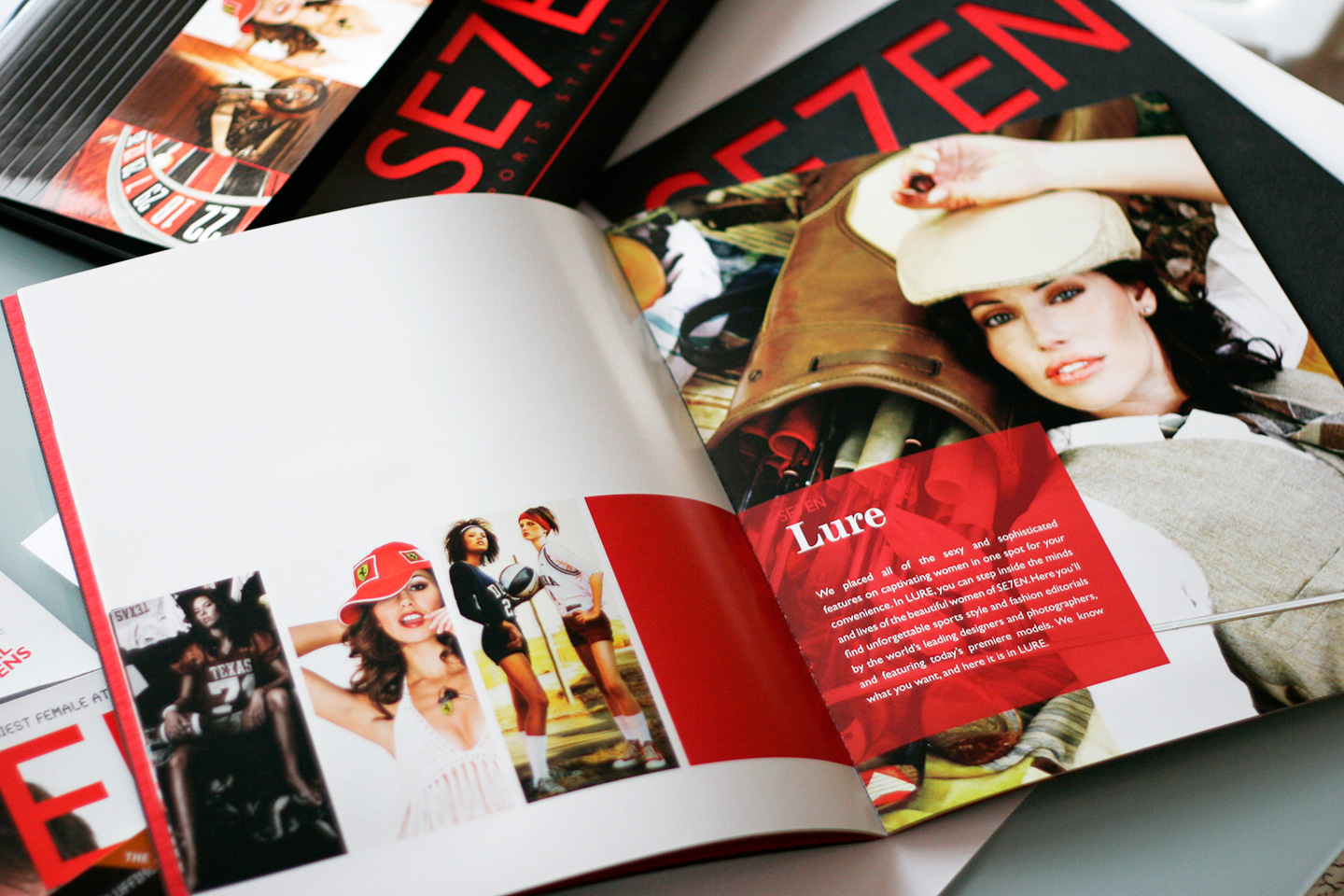 Open magazine spread in black and red