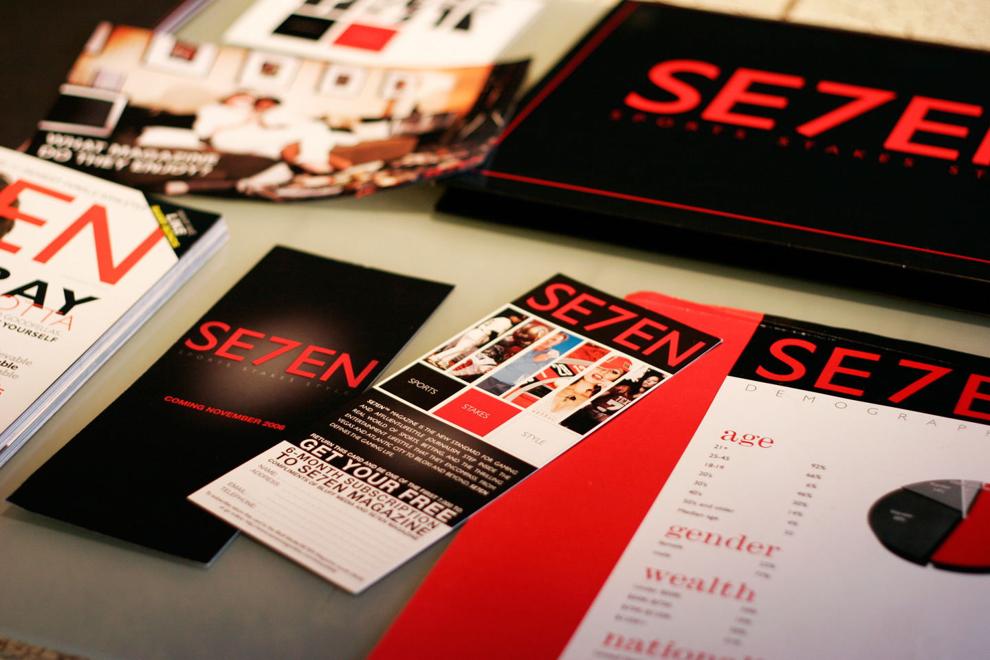 Stack of SE7EN magazines in black and red