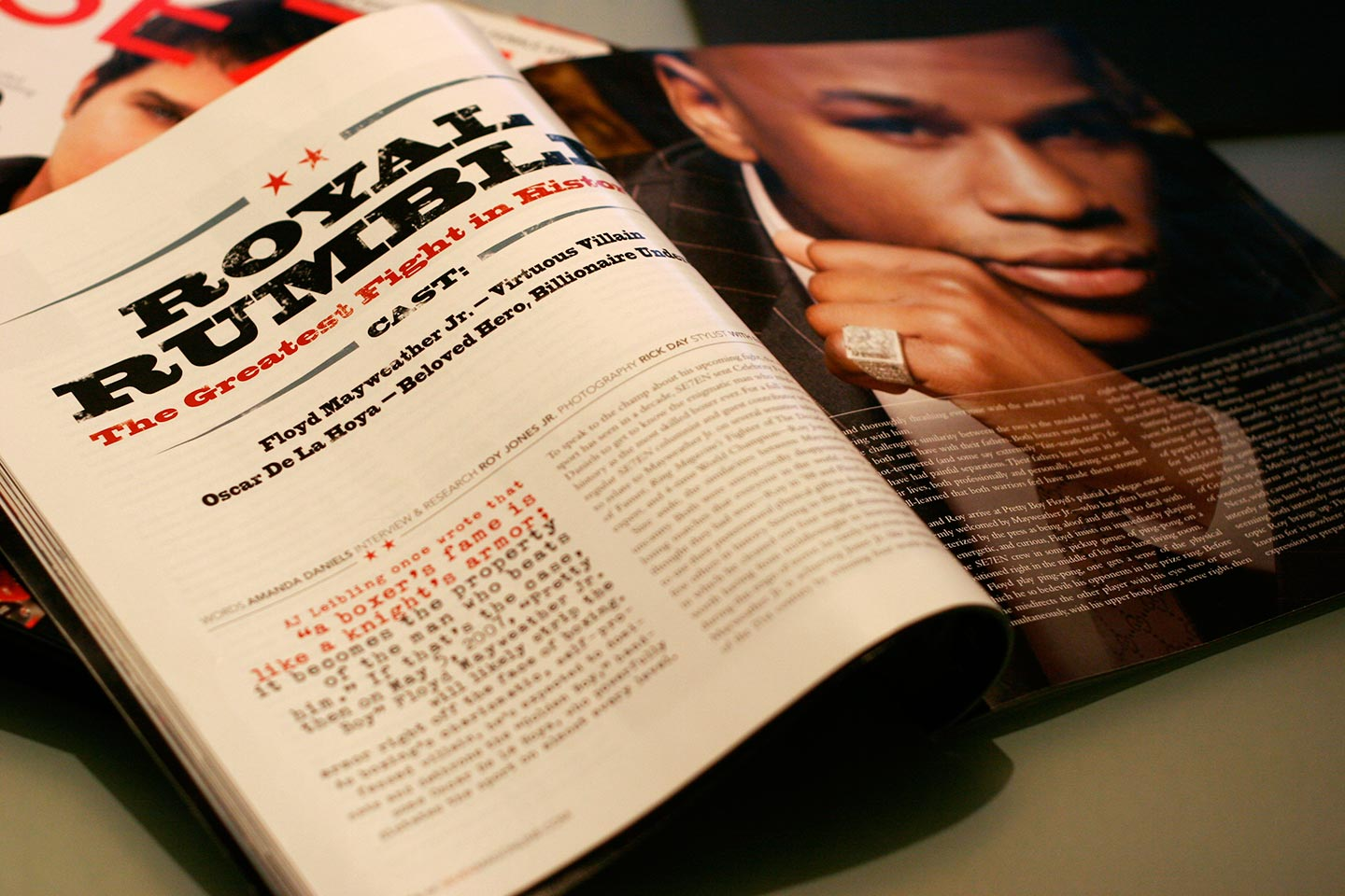 Magazine spread in black, red, and white