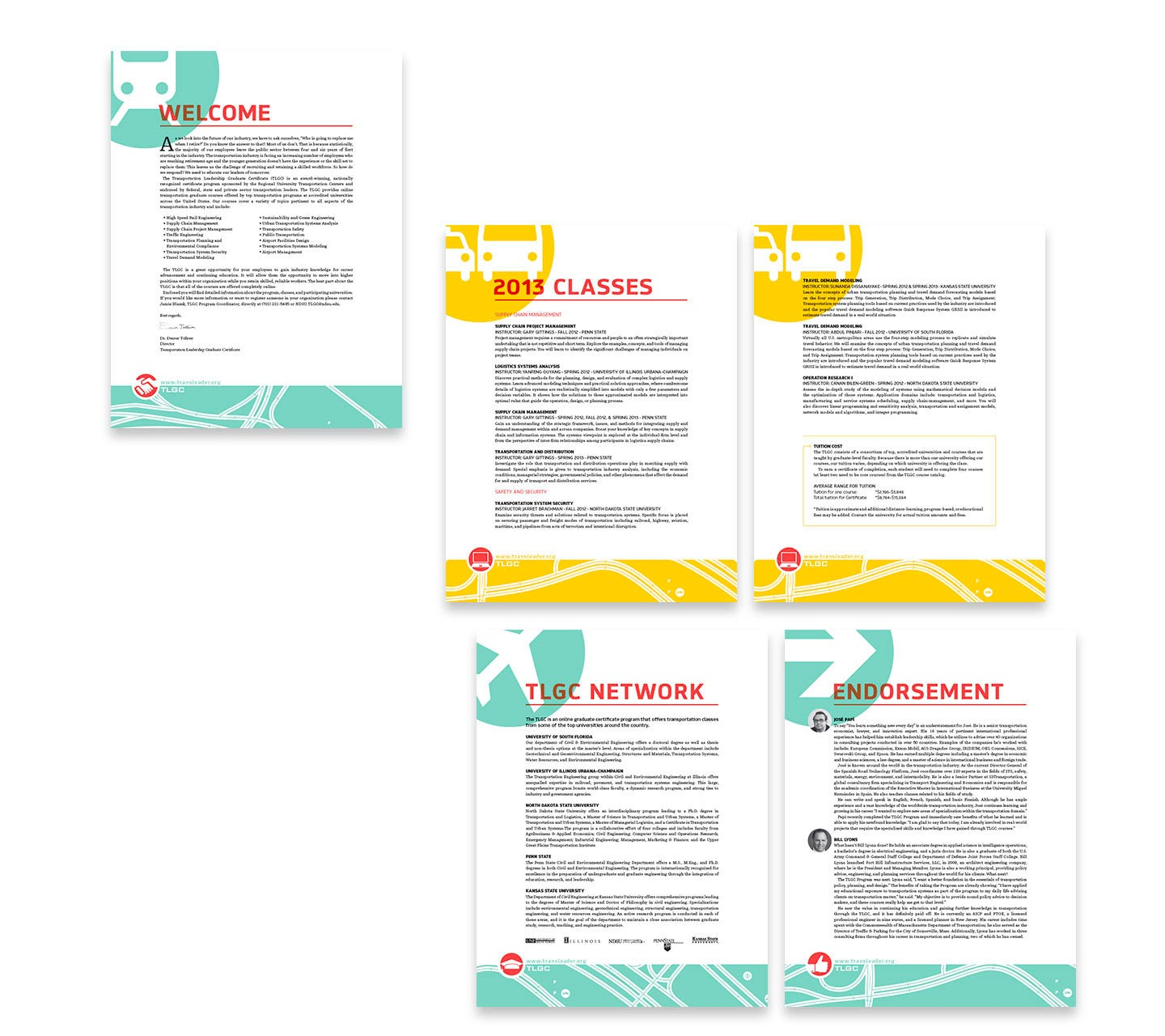 Blue and yellow letterhead design for the transportation leadership graduate course