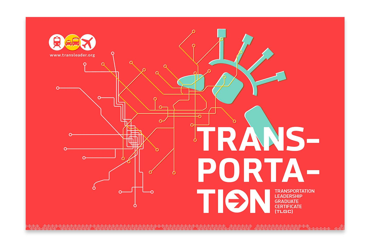 TRANSPORTATION written in white on an orange background with white and green line illustrations as accents