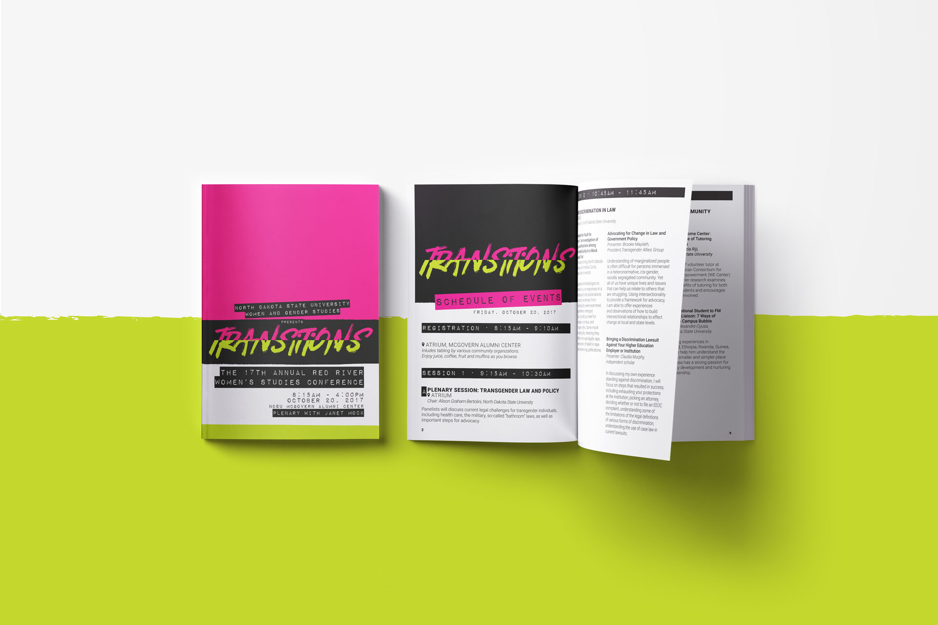 A closed, printed brochure next to an open brochure both in pink, black, and white on a lime green and white background