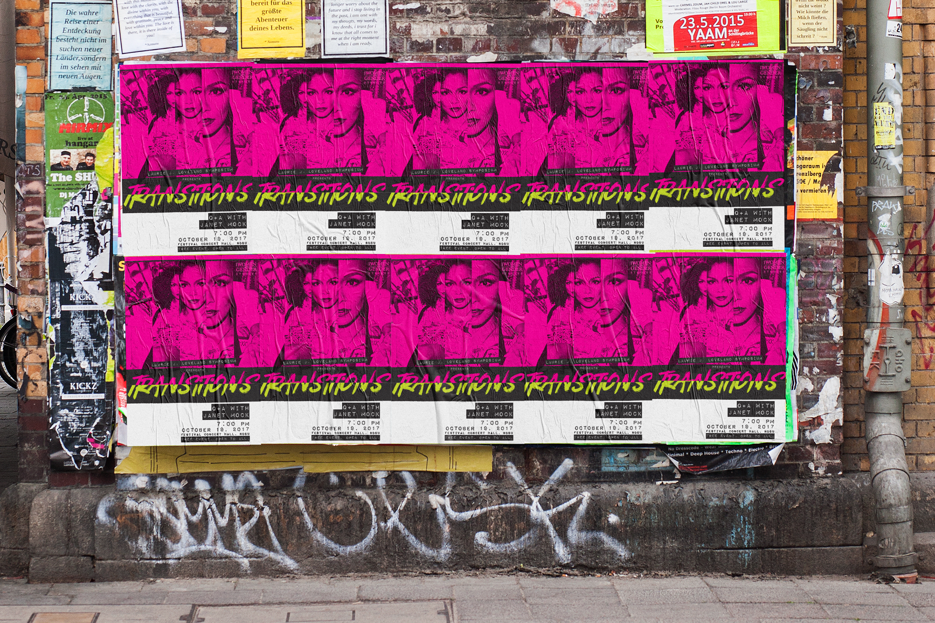 Black, pink, and white transformation poster plastered repeatedly on a city wall above graffiti