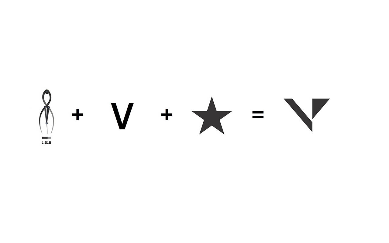 Explanation of use of V and negative space to create Varistar logomark