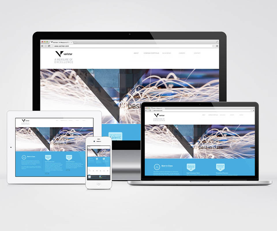 A mockup of the Varistar website on an iPad, iPhone, laptop, and desktop computer